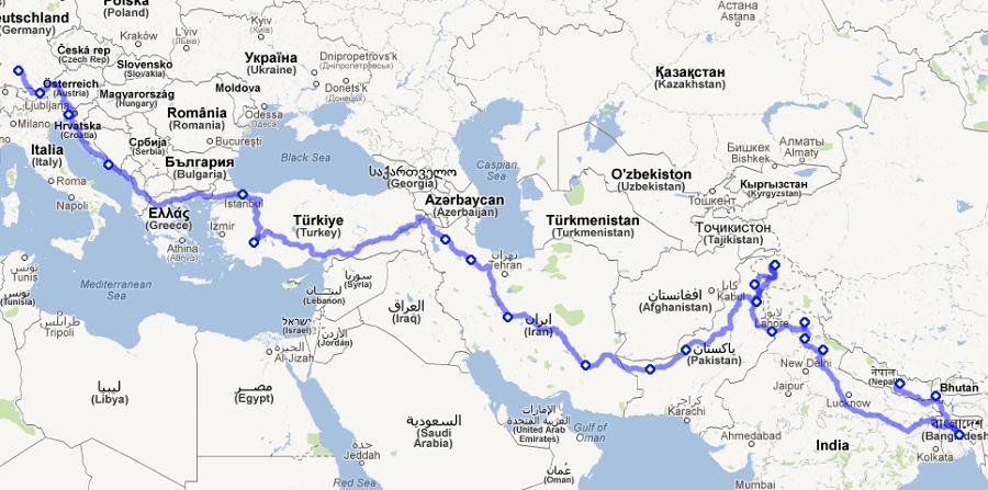 Reiseroute von Deutschland nach Bangladesh